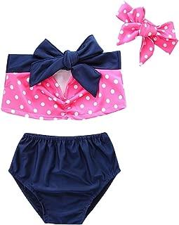 Ropa para niños y niñas con diseño de lunares + pantalones cortos + diadema de lazo para verano y playa