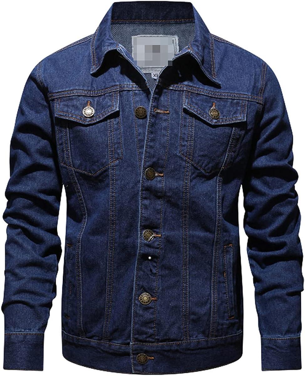 Spring And Autumn Pure Cotton Fashion Blue-Black Men's Casual Denim Jacket Slim