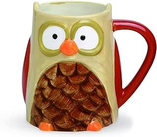 Funny Coffee Mug - Owl, Handpainted Ceramic Tea Cup, 16 Ounces