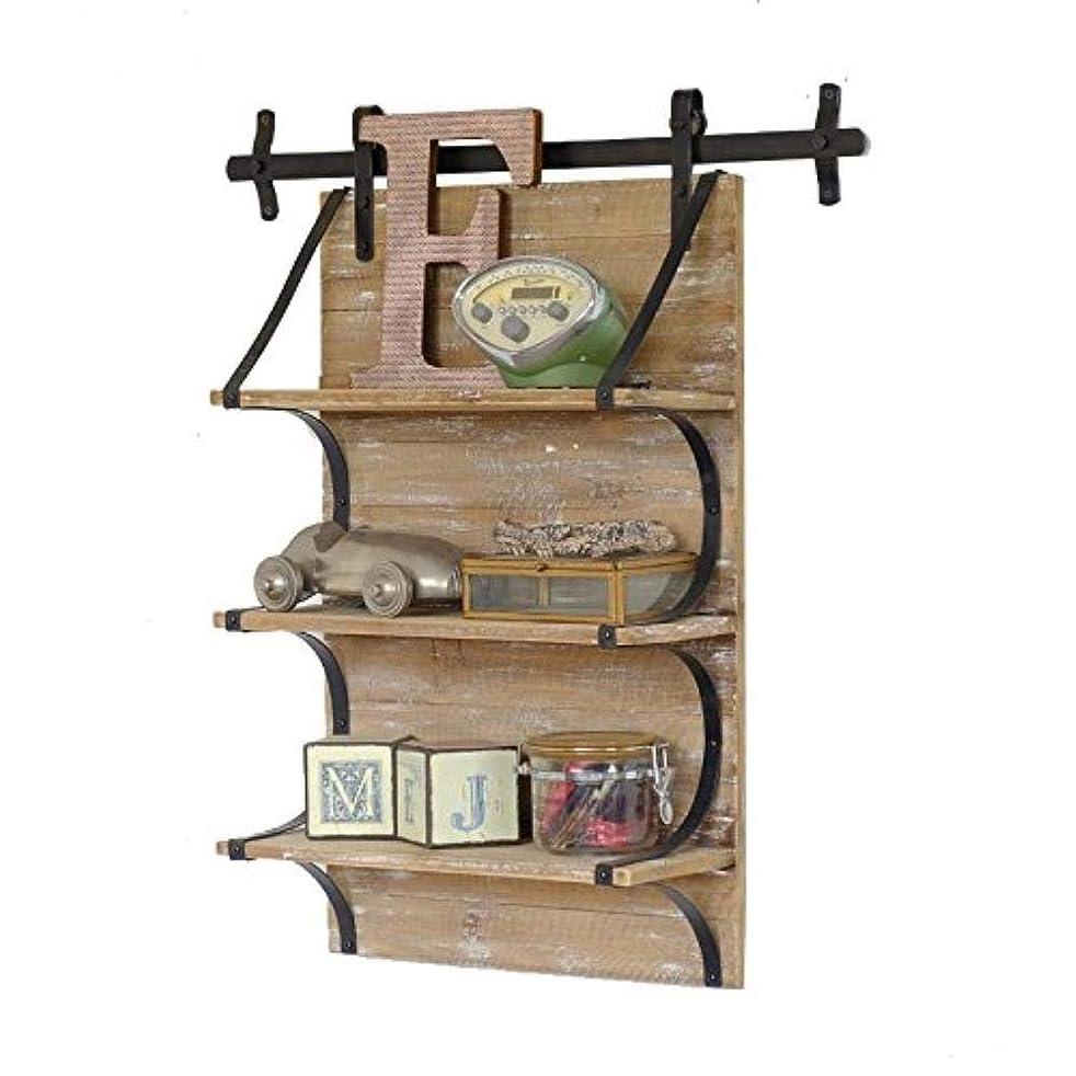 翻訳するうなり声うそつき3層のフローティングシェルフレトロなロフト産業ノスタルジックなスタイルの鉄と木製キッチン壁収納ボード本棚/花スタンド/壁掛けラック