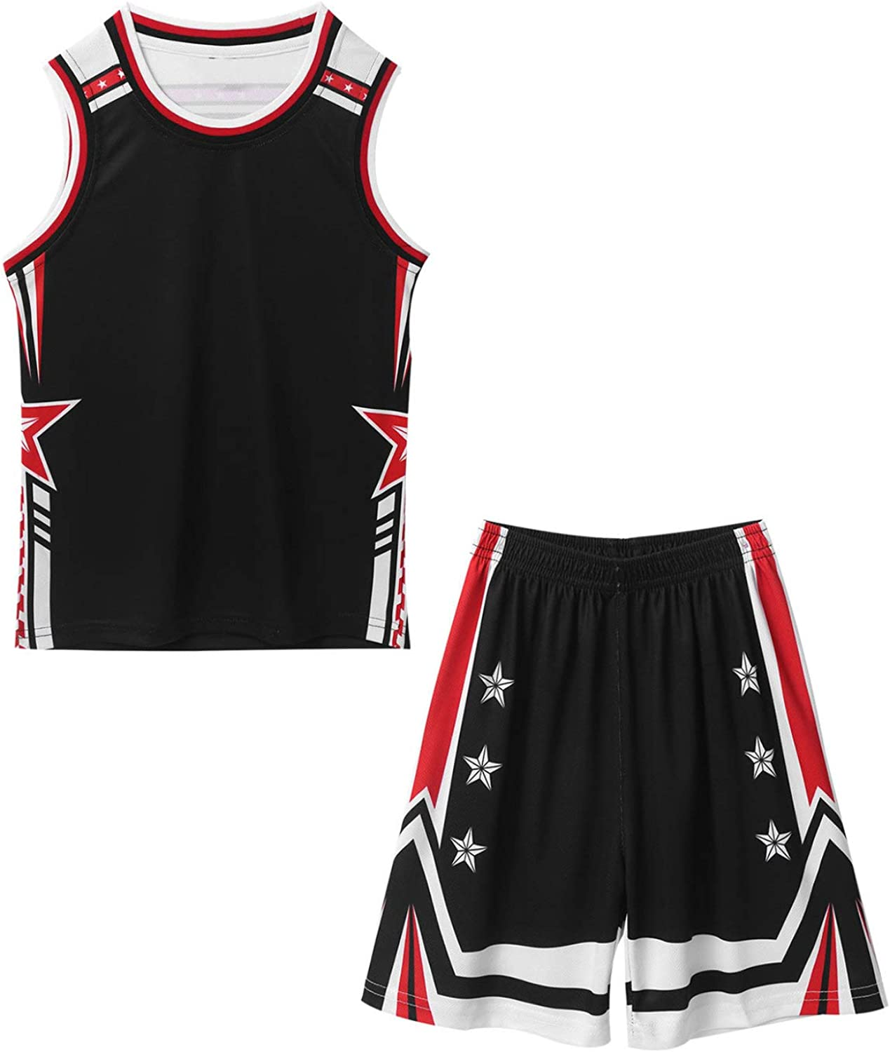 dPois Kids Boys Sleeveless Active Sports Top Vest with Shorts Sets for Basketball Suit Sportswear Workout Fitness Tracksuit