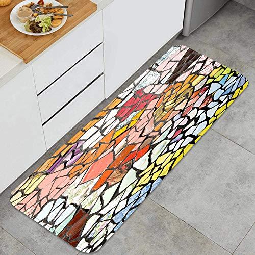 TTLUCKY Juegos de alfombras de Cocina Multiusos,Fondo de Azulejos de Colores aleatorios Fondos Ideales,Alfombrillas cómodas para Uso en el Piso de Cocina súper absorbentes y Antideslizantes