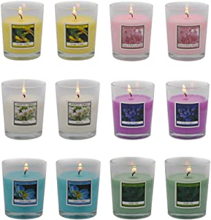 Scented Candles Set 12 Natural Soy Wax Votive Candles - 12 Hour Burn Time, Outdoor and Indoor
