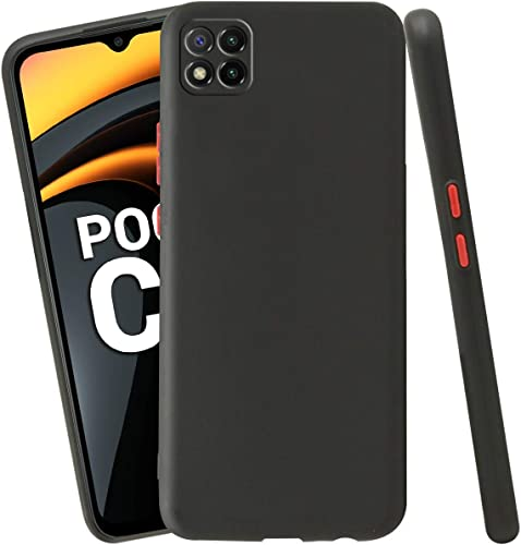 Jkobi Soft Silicon Camera Protection Back Cover Case For Poco C3 With Color Highligted Smoke Buttons Black