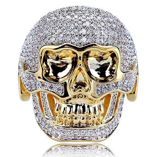 Moca Jewelry Iced Out - Anillo dominante con diseño de calavera retro chapado en oro de 18 quilates con circonita cúbica y diamante de imitación para hombre