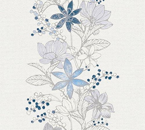 Esprit Vliestapete mit Glitter Romantic Botanics Tapete mit Blumen floral 10,05 m x 0,53 m blau metallic weiß Made in Germany 357543 35754-3