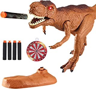 Dino Planet Dinosaur Foam Dart Gun T-Rex Toy - Realistic Tyrannosaurus Rex Model for Kids with Shooting Roaring Sounds and Light Up Eyes