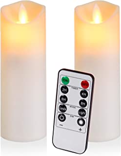 Flameless Candles Flickering Candles Battery Operated Candles Pack of 2 Frosted Plastic Candles Unmelting Include Realisti...