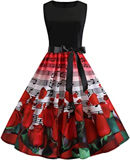 Christmas Vintage Dress, Women Elegant Long Sleeve Print Dresses - O Neck Xmas Evening Party Swing Dress