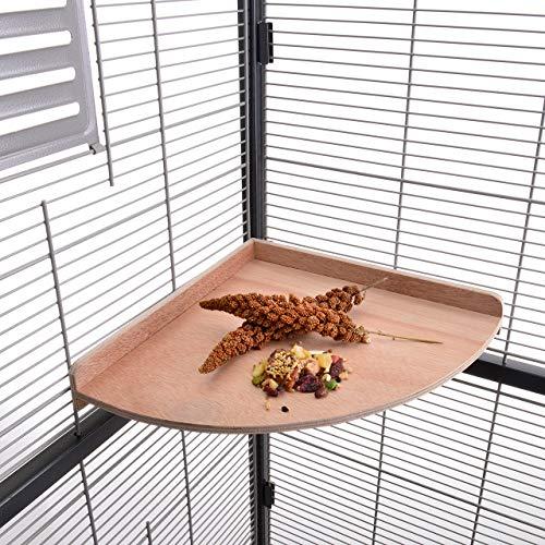 HappyBird ® | Eck - Sitzbrett 28 x 28 cm ideal für den Wellensittich, Nymphensittich & Papagei - Ecksitzbrett XXL für den Käfig und die Voliere auch für Graupapageien, Amazonen und den Kakadu