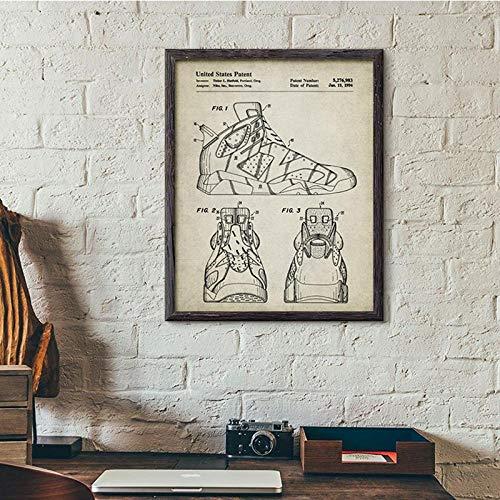 kldfig Vintage schoenen Sneaker Patent Poster en afdrukken Jongens Gift Mode Sneaker Kunstst Canvas Schilderij Afbeeldingen Home Wanddecoratie - 50x70cm niet ingelijst