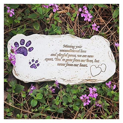 Z-Y Lápida de Perro Mascota lápida en Memoria de Perro o del Gato del jardín púrpura impresión de la Pata de Piedra for los Seres Mascota Mascota mortuoria Grave pérdida de la Mascota