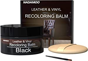 NADAMOO Leather Recoloring Balm Black 225g / 8 oz, Leather Repair Kits for Couches, Restoration Cream Scratch Repair Leather Dye for Vinyl Furniture Car Seat, Sofa, Shoes