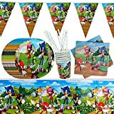 Gxhong Decoración de Mesa de Cumpleaños para Niños Sonic Vajilla De Fiesta Temática Cumpleaños Decoracion, Platos Tazas Servilletas Manteles Pajitas, para Sonic Party Supplies, 52 Piezas