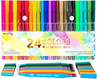 Dual Brush Pen Art Markers, Calligraphy Brush Pens for Lettering, 24 Pack Brush and Fine Tip Markers for Coloring Books Sketching Bullet Journaling