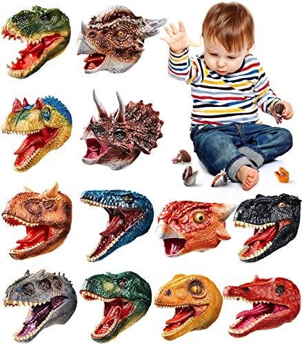 Geyiie Dinosaur Finger Puppets Toys, Dinosaur Head Finger Toys for Kids Toddlers, Animal Bath Toys, Treasure Box Prizes, Pinata Fillers Goodie Bag Fillers Valentine ,12pcs