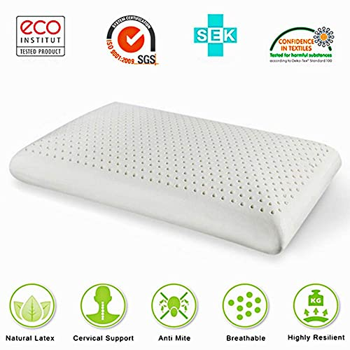 Latex Pillows Foam Anti Snore Deep Sleep Mite Allergic Luxurious Comfort Massage Natural with Ventilated Filler Contoured Medium Outside Travel Beding For Neck Pain 100% (White, 60cm x 40cm x 14cm)