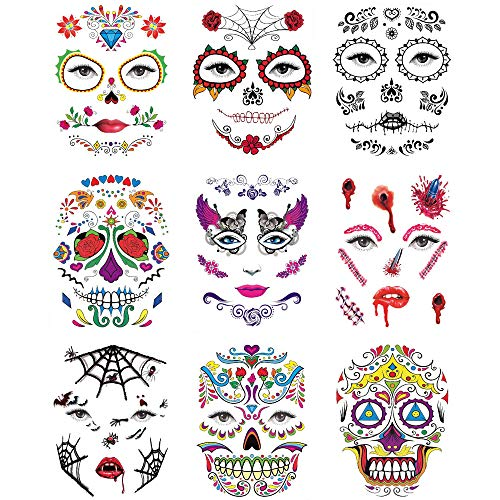 Halloween Face Tattoo Stickers Sugar Skull Temporary Tattoos Day of the Dead Parties Makeup Supplies with Black Web, Red Rose, Scar, Blood, Floral Design for Halloween Parties, Masquerade 9 PCS