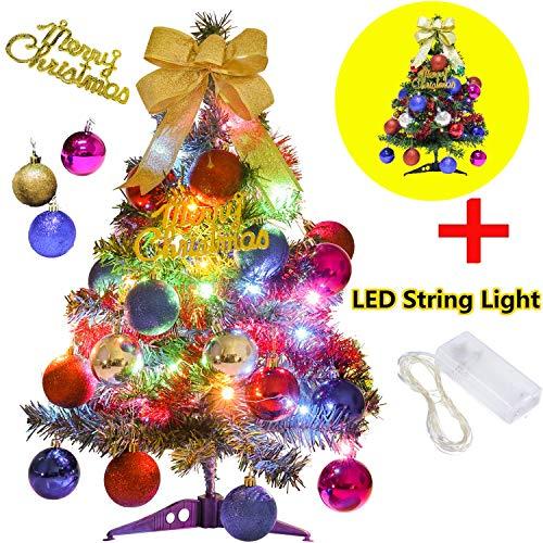 Mini Xmas Boom, 60 cm Mini Bureau Kerstboom Set met Twinkly Lichtgevende Kettingen, Star Treetop en Ornamenten, Beste DIY kerstversieringen
