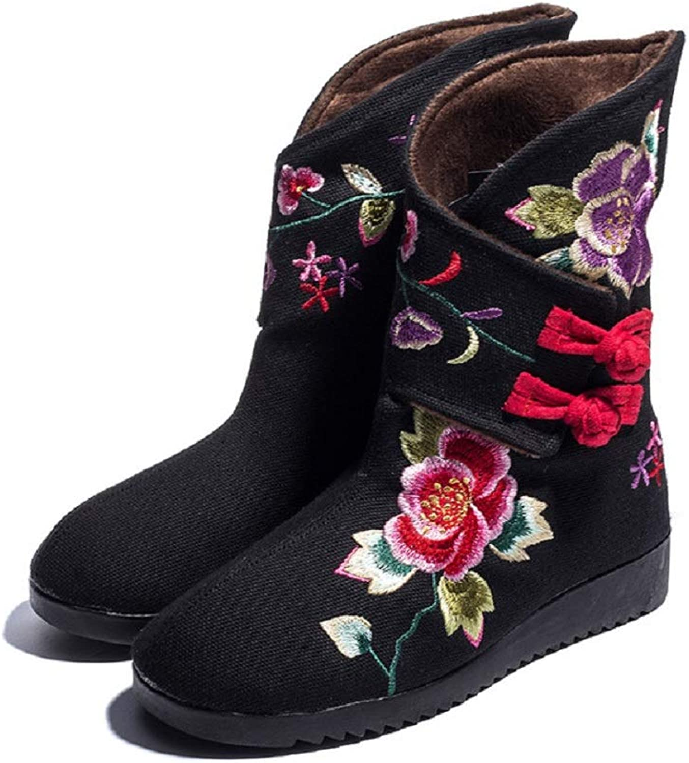 LingGT Hook Loop Boots Women Embroidery Flower Black Cotton shoes (color   Black, Size   CA 5)