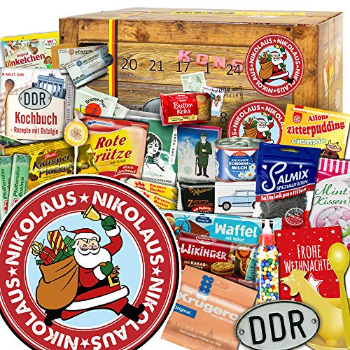 Nikolaus | DDR Adventskalender | Ostprodukte in 24 Türchen | DDR Geschenk | weihnachtlich verpackt mit Ostmotiven