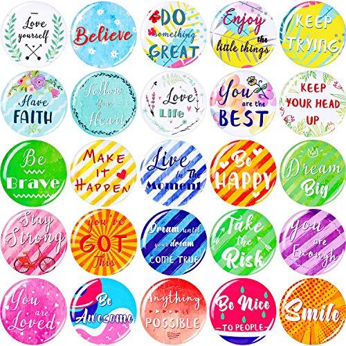 25 Pezzi Inspirational Magneti di Frigorifero Motivazionale Citazione Magneti Tondi Multicolori Magneti da Frigorifero per Forniture per Armadietti Lavagna Bianca Classe
