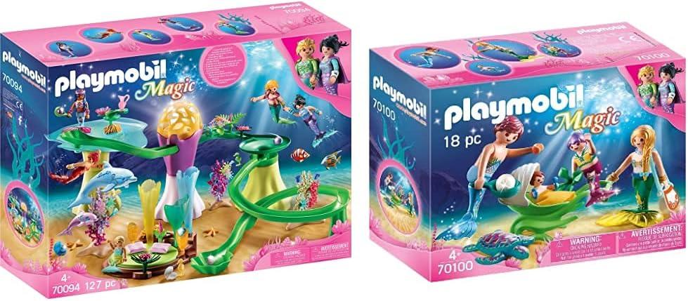 PLAYMOBIL Max 74% OFF Mermaid Cove with Illuminated Famil 70100 Choice Dome Magic