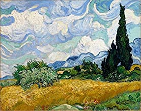 Wieco Art Wheat Field with Cypresses by Van Gogh Classic Oil Paintings Reproduction Modern Framed Landscape Giclee Canvas Prints Artwork on Canvas Wall Art for Living Room Home Office Decorations