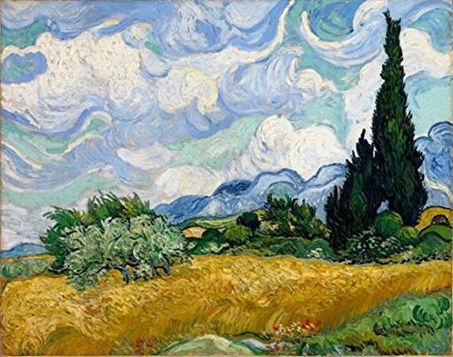 Wieco Art Wheat Field with Cypresses by Van Gogh Famous Oil Paintings Reproduction Modern