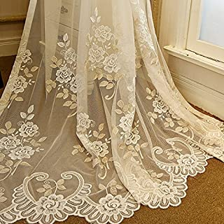 ZZC Romantic Embroidery Window Sheer Curtain Luxury Lace Voile Tulle Rod Pocket Net Mesh Drape Elegant Graceful Tulle for Villa Living Room High-End Floral Door Drapery 1 Set of 2 Panels W52xH63 inch