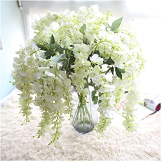 Artificial Flowers, Fake Hanging Flowers 1-Piece 39Inch Artificial Silk Wisteria Outdoor Plants Faux Indoor Outside Hanging Planter Home Kitchen Patio Office Wedding Garden Decor (White)