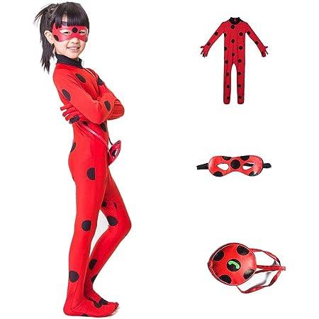 FZCRRDU KOCCAE Carnaval Disfraz de Mariquita Para Niña Halloween Ladybug Viste a Cosplay 3-10 años Leotardo Bodysuit Con Lunares Niños Disfraz Heroína Super Bug Mariquita Niña Infantil Para Carnival