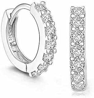 Besflily biżuteria elegancka sześcienna cyrkonia posrebrzana obręcz wiszące kolczyki prezent dla kobiet dziewcząt