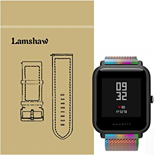 Lamshaw バンド 対応 Xiaomi Amazfit Bip, ミラネーゼループ マグネット式 ステンレス メッシュ 交換ベルト 対応 シャオミ Amazfitスマートウォッチ BIP (color)