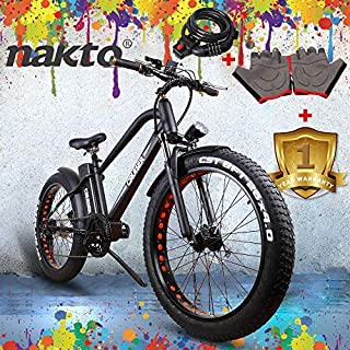 NAKTO Electric Bike Mountain Ebike with 300W/350W/500W 36V/48V Lithium Battery (500W48V10A)