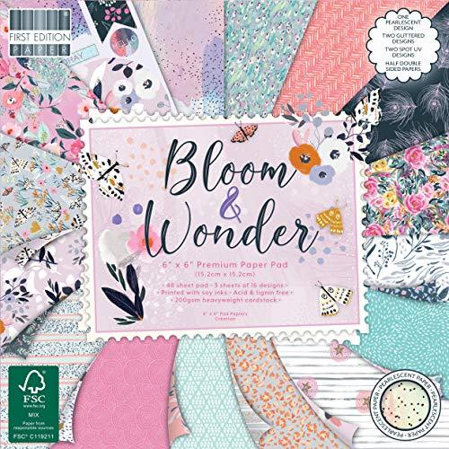 Eerste editie FSC 6x6 Papier Bloom en Wonder-48 Sheet Pad, 200gsm Zware Karton, Zuur & Lignin gratis, Soja-inkt-voor Card Making, Scrapbooking, Home Decor & Papercraft, Multi kleuren, 6