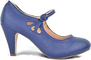 Kimmy-21 Women's Round Toe Pierced Mid Heel Mary Jane Style Dress Pumps