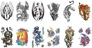 TAFLY Waterproof Temporary Tattoo Stickers Fallen Angels Wings Dragon Tiger Design Body Art Men Tattoo 12 Sheets