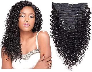 Brazilian Virgin Human Hair Deep Curly Clip In Hair Extensions 8A Unprocessed Remy Hair Deep Wave Curly Hair Clip In Extensions Natural Color For Black Woman 10Pcs/Set 120Gram