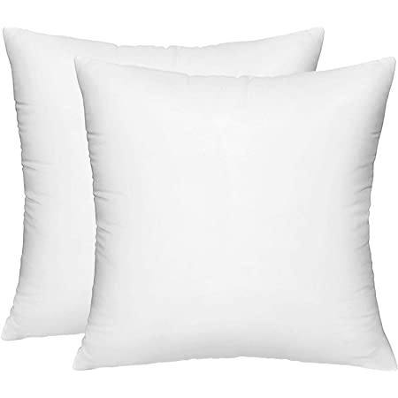 Hippih 2 Pack Pillow Insert 18 X 18 Inch Hypoallergenic Decorative Square Sofa And Bed Pillow Form Inserts Kitchen Dining