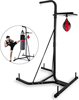 Happybuy Foldable Boxing Heavy Bag Stand Height Adjustable Sandbag Rack Portable 330LB Heavy Duty Punch Bag Stand Free Standing in The Corner Punching Suspension Bracket for Home