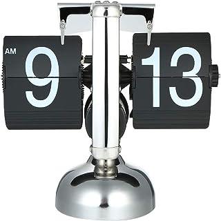 eWINNER Flip Clock Desk Clock Timers Small Scale Table Clock Retro Flip Over Clock Stainless Steel Flip Internal Gear Oper...