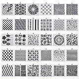 Smilcloud 30 Stücke Schablonen Set Schablonen Wiederverwendbar Malschablonen aus Kunststoff zum Malen Zeichnen Sprühen Tagebuch Vorlage, Holz