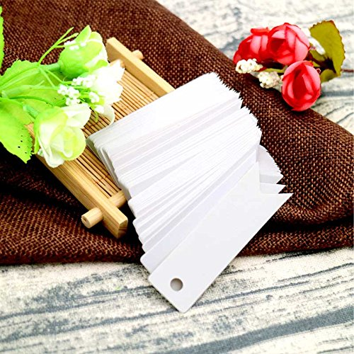 White Gift Tags, G2PLUS 100 PCS Paper Hang Tags with String, Craft Gift Tags, 7 cm x 2 cm Mini Size Flag Tags, Wedding Favor Tags with 30 Meters Jute Twine (White) Photo #6