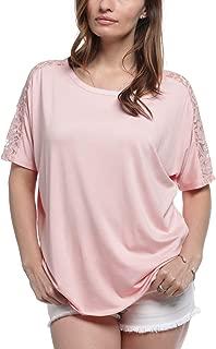 August Silk Women's Floral Lace Shoulder Short Sleeve Top