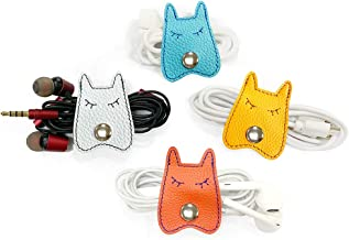 Cassenger 4 Pieces Dog Shaped Leather Cord Keeper Management for USB Cable Headphone Wire,Cable Organizer Snaps with Leather Handmade(Orange/White/Cyan/Yellow)