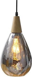 Lywin E27 En bois Les gouttelettes d'eau Lumière de vague gris Verre Moderne nordique Suspensions Lampes suspendues Pour S...