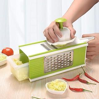 GWFVA Trancheuse à Mandoline Manuelle 4 en 1, hachoirs à légumes et à oignons Dicer à légumes Julienne trancheuse à râpe d...