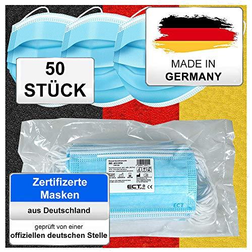 Medizinischer OP Mund Und Nasenschutz Maske (MADE IN GERMANY) Typ IIR (CE Zertifiziert) DIN EN 14683 (50 Stück) Mundschutz Masken Einwegmaske Gesichtsmaske Schutzmaske
