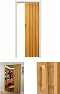 Lovely999 Vinyl Oak Accordion Door Oakmont Folding Closet Interior Trimmable 36 inch x 80 inch